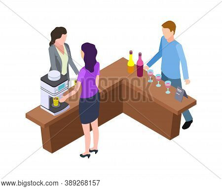 Coffee Break. Woman And Hot Drinks Machine. Isometric Wine Tasting Bar Counter With Bottles And Glas