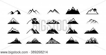 Mountain Peak Silhouettes. Black Hills, Top Rocks. Mountains Symbols, Extreme Sport Hiking Climbing
