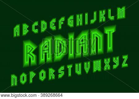Radiant Alphabet With Green Neon Glow. Luminous Oblique Font. Isolated English Alphabet.