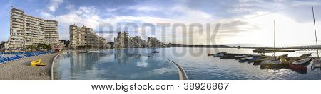 Panoramic view of the wold's biggest pool in San Alfonso, Algarrobo, Chile