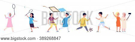 Multicultural Friendship. Arab Children, Kids Play Together. International Boy Girl Game With Ball,
