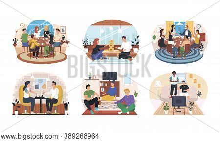 Set Of Friends Home Activities. Young Multiethnic People Having Fun At Home Party And Playing Card B