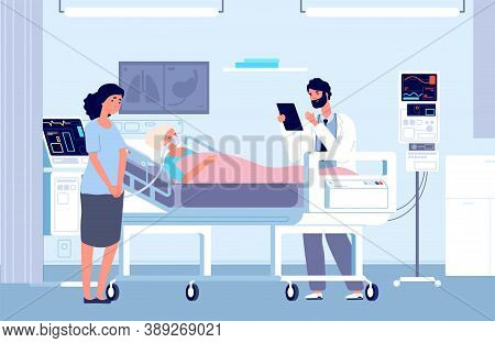 Sad Woman In Hospital. Intensive Care Unit, Woman In Oxygen Mask And Doctor. Artificial Lung Ventila