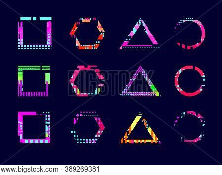 Glitch Effect Frame. Abstract Modern Design, Neon Broken Circle Triangle Shape. Geometric Glitched D