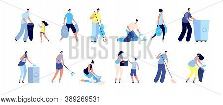 People Collect Garbage. Trash Recycling, Family With Bin Waste Containers. Man Woman Cleaning Separa