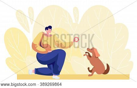 Young Girl Training Dog To Do Tricks. Female Teaches Her Dog To Sit Command. Cartoon Vector Illustra