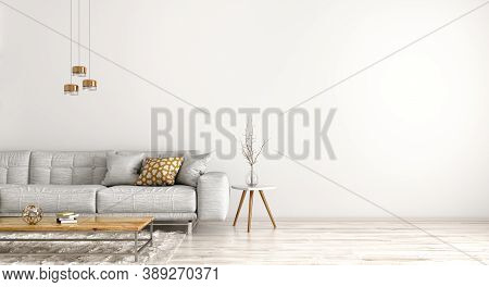 Modern Interior Design Of Apartment, Living Room With Grey Sofa, And Coffee Table Against White Wall