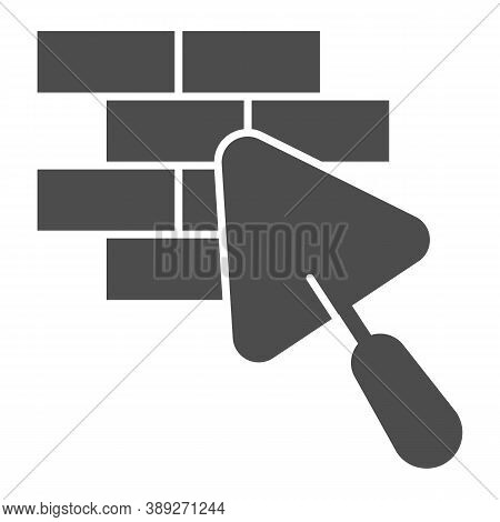 Brickwork And Trowel Solid Icon, House Repair Concept, Bricklaying Sign On White Background, Brick W
