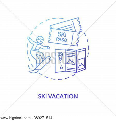 Ski Vacation Concept Icon. Winter Holiday Destination Idea Thin Line Illustration. Planning Heart-th