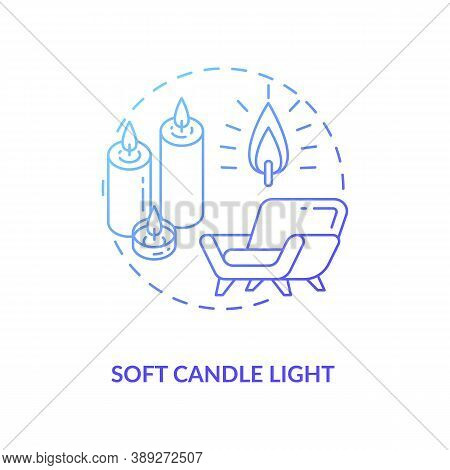 Soft Candle Light Concept Icon. Hygge Lifestyle Idea Thin Line Illustration. Hyggelig Atmosphere Wit