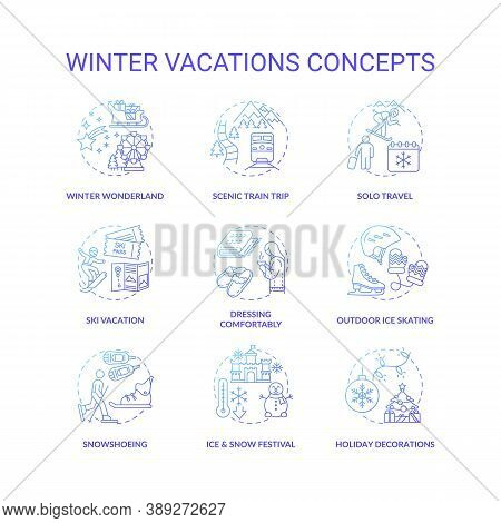 Winter Vacations Concept Icons Set. Holiday Pastime Idea Thin Line Rgb Color Illustrations. Ice And