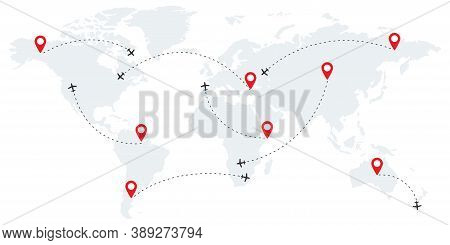 Airline Route Points. Plane Flight With Dashed Path. Map Of World Wallpaper With Planes. Globe Conce