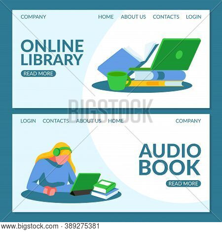 Online Library Landing Page Template. Girl In Headphones Listening Audio Books Using Laptop Computer