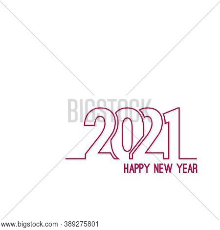 Happy New Year 2021 Template Text Design. Vector Banner For Flyer, Brochure, Booklet, Greeting Card.