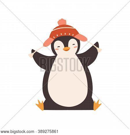 Funny Baby Penguin Enjoying Winter Season Vector Flat Illustration. Happy Polar Bird Wearing Chullo