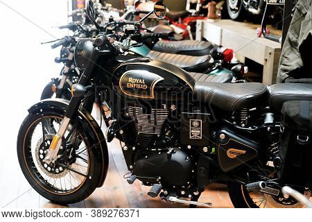 Bordeaux , Aquitaine / France - 10 01 2020 : Royal Enfield Classic 500 Tribute Black Limited Edition