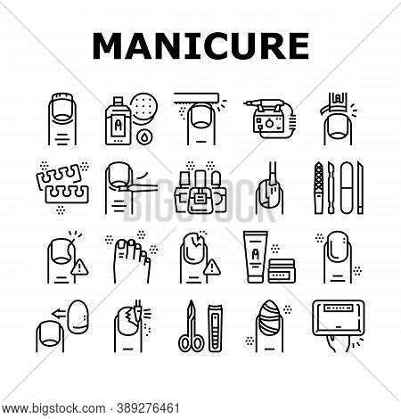 Manicure And Pedicure Collection Icons Set Vector. Nail Polish And Scissors, Tweezers And Cream, Cut
