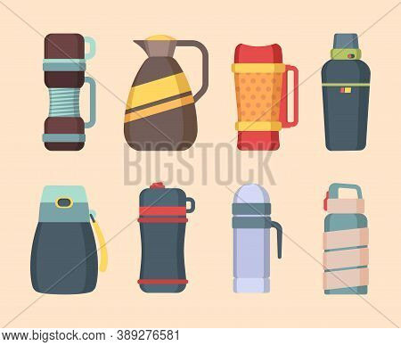 Vacuum Flask. Steel Mug And Thermos For Water Or Liquids Containers Bottles For Coffee And Food Vect