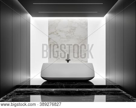 Minimal Style Black And White Bathroom 3d Render,there Are Black Marble Floor And Black Panel Wall D