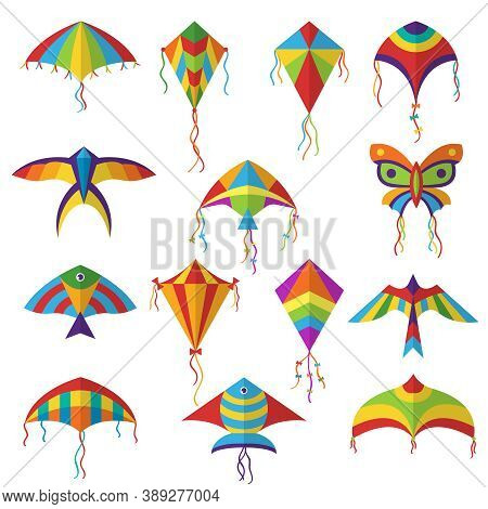 Air Kite. Colored Different Shapes Kite In Sky Festival Toys For Kids Vector Collection. Kite Toy In