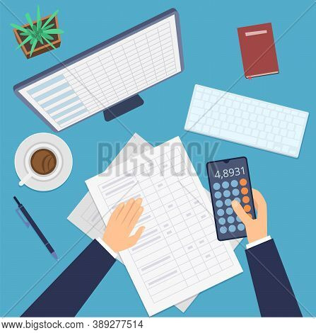 Financial Accounting. Business Plan, Investment Profit Research. Office Work Desk Top View Vector Il
