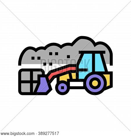 Landfill Tractor Color Icon Vector. Landfill Tractor Sign. Isolated Symbol Illustration