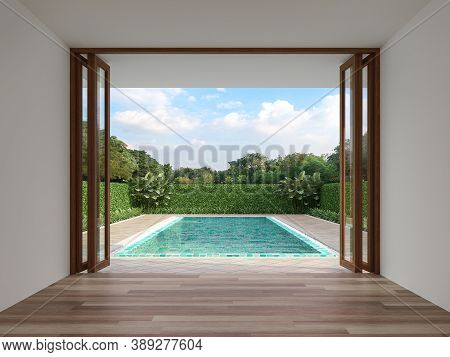 Modern Contemporary Empty Room With Swimming Pool Background 3d Render, The Room Has Wood Floor Whit