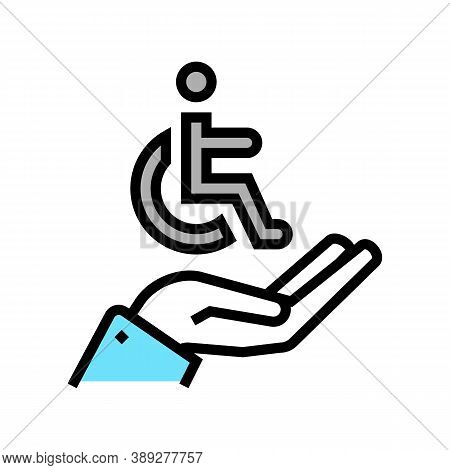 Hand Hold Disabled Human Sign Color Icon Vector. Hand Hold Disabled Human Sign Sign. Isolated Symbol