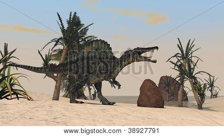 spinosaurus on sand terrain