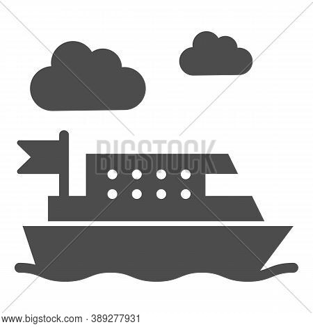 Ferry Solid Icon, Public Transport Concept, Ferry Ship Transportation Sign On White Background, Boat
