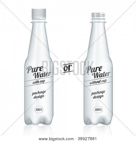 Modern plastic bottle packages with and without plastic cup isolated on white background. Front/presentation view.