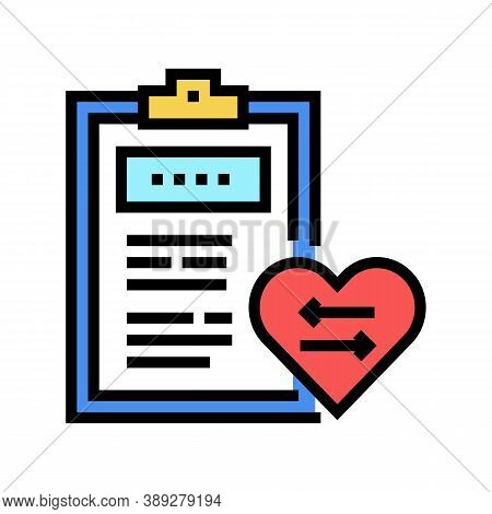 Patient Medical Card For Heart Transplant Color Icon Vector. Patient Medical Card For Heart Transpla