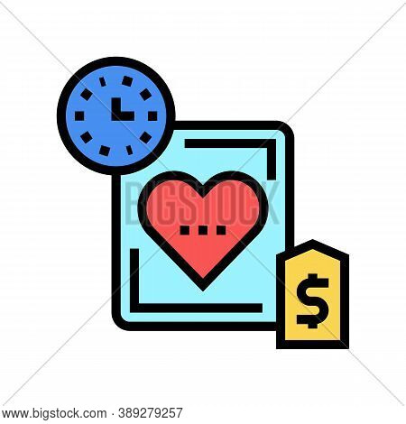 Heart Transplant Price And Time Color Icon Vector. Heart Transplant Price And Time Sign. Isolated Sy