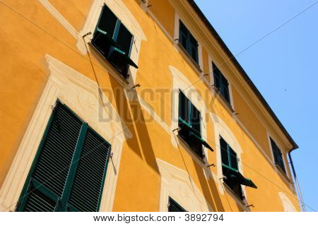 Tall Colored House In Liguria Italy