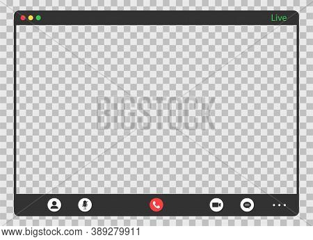Call Screen Template. Video Conference With Transparent Background. Editable Online Meeting. Remote