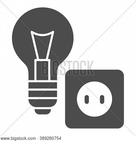 Light Bulb And Socket Solid Icon, Home Repair Concept, Electric Repair And Installation Sign On Whit