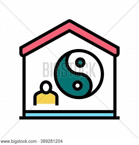 Yoga At Home Color Icon Vector. Yoga At Home Sign. Isolated Symbol Illustration