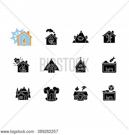 Shelters Types Black Glyph Icons Set On White Space. Building. Safety And Retreat Place. Transitiona