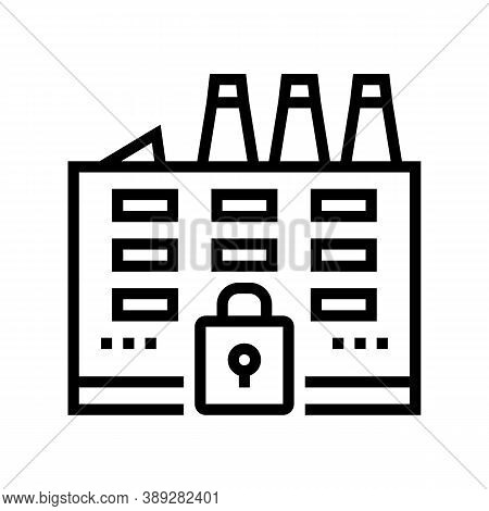 Closed Factory Line Icon Vector. Closed Factory Sign. Isolated Contour Symbol Black Illustration