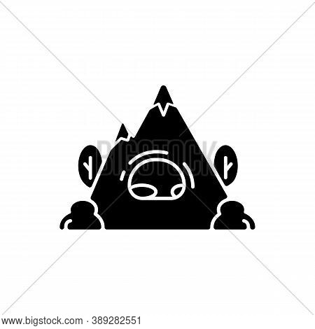 Rock Shelter Black Glyph Icon. Rockhouse. Crepuscular Cave. Hiking. Bluff Shelter. Shallow Cave-like