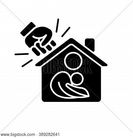 Women Shelter Black Glyph Icon. Safe Accommodation. Families Support. Domestic Violence And Abuse Vi