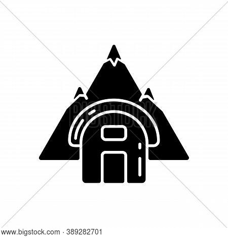 Bivouac Shelter Black Glyph Icon. Improvised Camp Site. Backpacking. Scouting. Temporary Tent. Encam