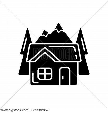 Bothy Black Glyph Icon. Mountain Cabin. Wilderness Hut. Hiking And Mountain Recreation. Tourism Buil