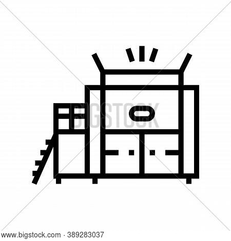 Waste Factory Machine Line Icon Vector. Waste Factory Machine Sign. Isolated Contour Symbol Black Il