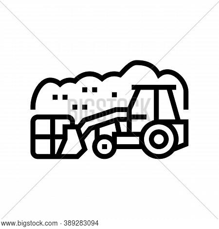 Landfill Tractor Line Icon Vector. Landfill Tractor Sign. Isolated Contour Symbol Black Illustration