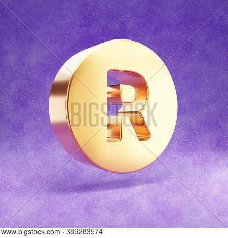 Registered Icon. Gold Glossy Registered Symbol Isolated On Violet Velvet Background. Modern Icon For