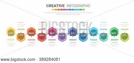 Year Planner, 12 Months, 1 Year, Timeline Infographics Design Vector And Presentation Business Can B