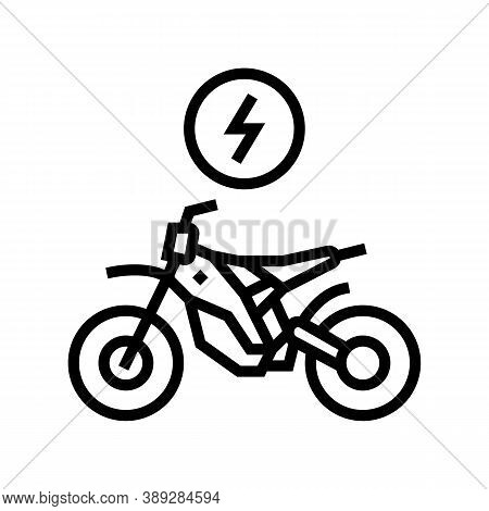 Electrical Bike Line Icon Vector. Electrical Bike Sign. Isolated Contour Symbol Black Illustration