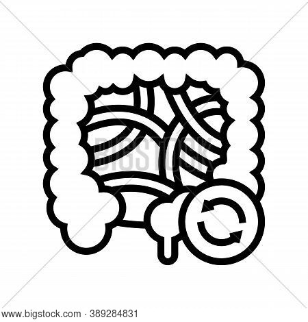 Intestines Transplant Line Icon Vector. Intestines Transplant Sign. Isolated Contour Symbol Black Il