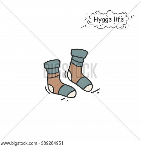 Knitted Socks Color Icon. Coziness, Hominess Atmosphere In Simple Things. Hygge Life. Cozy Fashion A